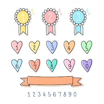 Zestaw ładny znaczek liczbowy.