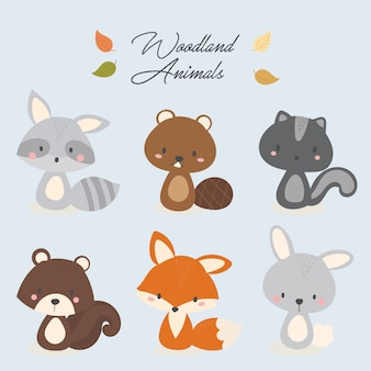 Zestaw ładny zwierząt leśnych.