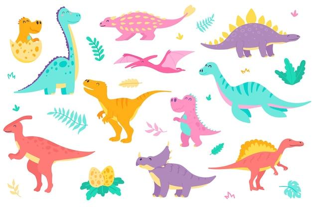 Zestaw ładnych dinozaurów izolowanych obiektów kolekcja różnych rodzajów kolorowych dinozaurów