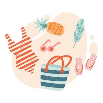 Zestaw ładnych elementów plaży strój kąpielowy, kapelusz, klapki, okulary przeciwsłoneczne, ręcznik plażowy. płaska ilustracja wektorowa