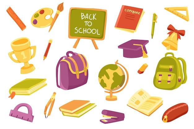 Zestaw ładnych elementów zaopatrzenia szkolnego