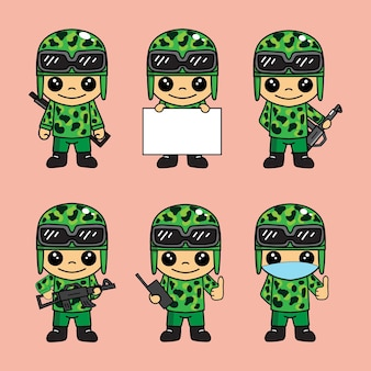 Zestaw ładnych ilustracji maskotek armii lub żołnierza z postaciami z kreskówek z różnymi pozami