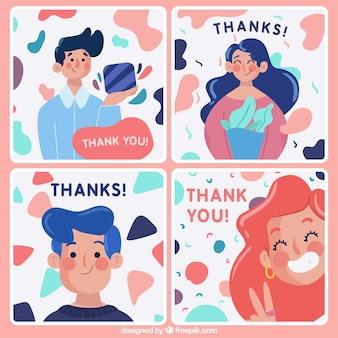 Zestaw ładnych kart z podziękowaniami z postaciami