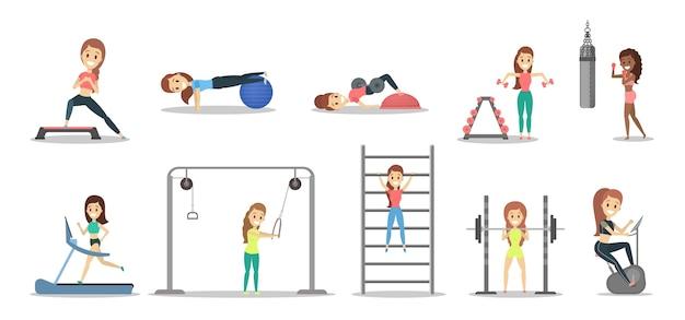 Zestaw ładnych kobiet ćwiczeń na siłowni. fitness i zdrowy tryb życia. podnoszenie ciężarów, boks i aroebics. ilustracja