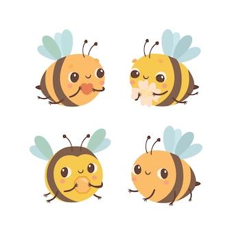 Zestaw ładnych pszczół