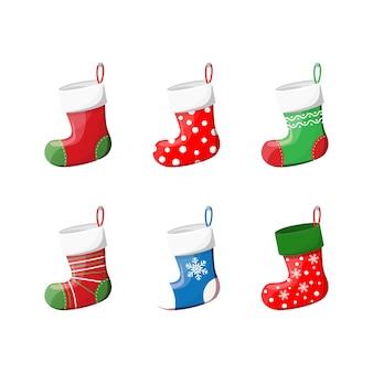 Zestaw ładnych świątecznych skarpet