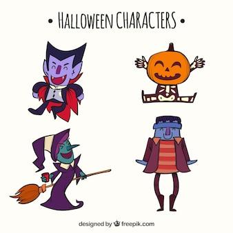 Zestaw ładnych Wyciągnąć Rękę Halloween Znaków Darmowych Wektorów