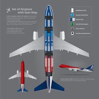 Zestaw lądowania samolotu z mapa miejsc na białym tle