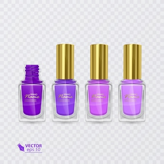 Zestaw lakierów do paznokci w kolorach od fioletowego do jasnofioletowego, lakiery na przezroczystym tle, ilustracja