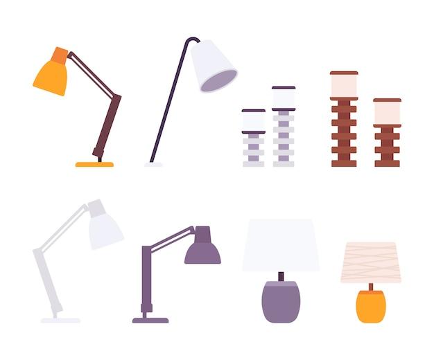 Zestaw Lamp Biurkowych Premium Wektorów