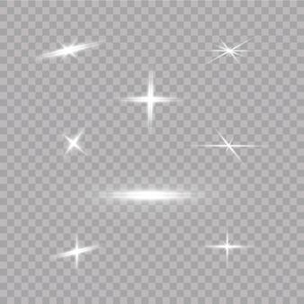 Zestaw lamp błyskowych, świateł i błyszczy. jasne błyski i spojrzenia. streszczenie światła izolowane jasne promienie światła. świecące linie.