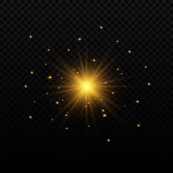 Zestaw lamp błyskowych, świateł i błyszczy. jasne złote błyski i spojrzenia. streszczenie złote światła izolowane jasne promienie światła. świecące linie