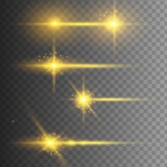 Zestaw lamp błyskowych, światła, błyszczy na przezroczystym tle. jasne złote odblaski. streszczenie złote światła na białym tle. pakiet żółtych odblasków poziomych. wiązki laserowe, poziome promienie świetlne, linie. wektor