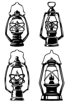 Zestaw lamp naftowych w starym stylu. elementy etykiety, godło, znak, znaczek, plakat, koszulka. ilustracja
