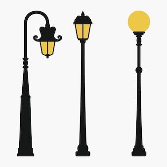 Zestaw lamp ulicznych. latarnia rocznika miasta. ilustracja wektorowa.