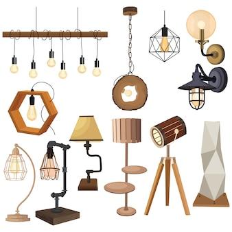 Zestaw lamp w stylu loftu. kolekcja lamp. płaskie ilustracje nowoczesnych opraw.