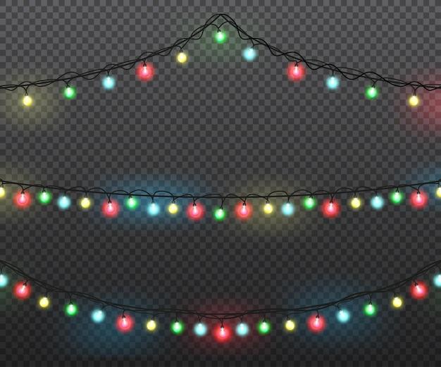 Zestaw lampek choinkowych, kolorowe girlandy. kolorowe dekoracje świąteczne. projekt wektorowy