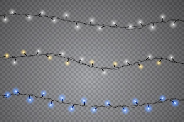 Zestaw lampek choinkowych na białym tle realistyczne elementy.