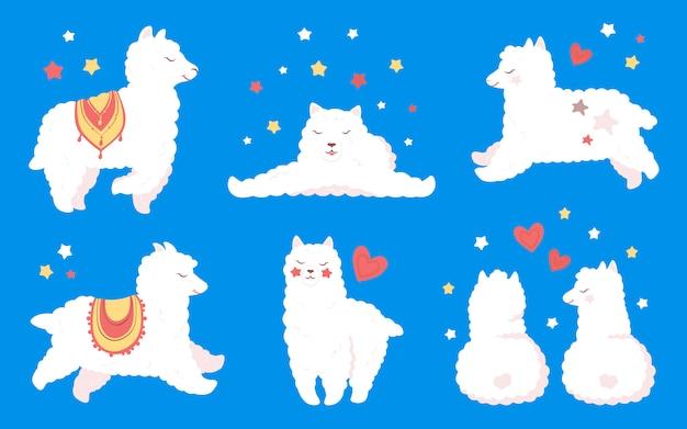 Zestaw lamy lub alpaki. śmieszna płaska postać z kreskówki, uśmiechnięty zwierzę. śliczne białe lamy dziecięce z sercami i gwiazdami