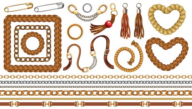Zestaw łańcuchów, frędzli i pasków.