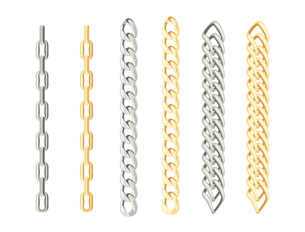 Zestaw łańcuszków ze złota i srebra.