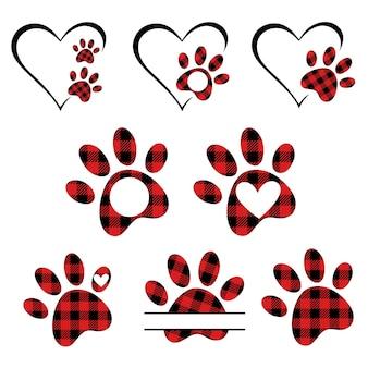 Zestaw łap buffalo plaid dog paw love psy zwierzęcy symbol miłości odcisk łap monogram łapy