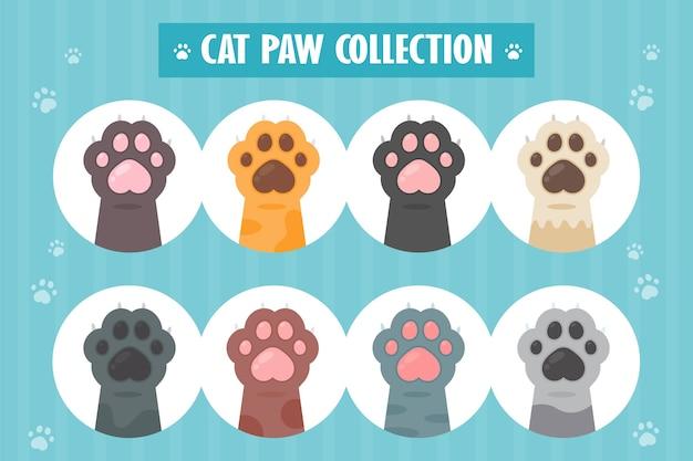 Zestaw łapa kota różne gatunki słodkie kociaki ręcznie projekty izolowane z.