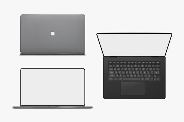 Zestaw laptopa na białym tle w różnych widokach