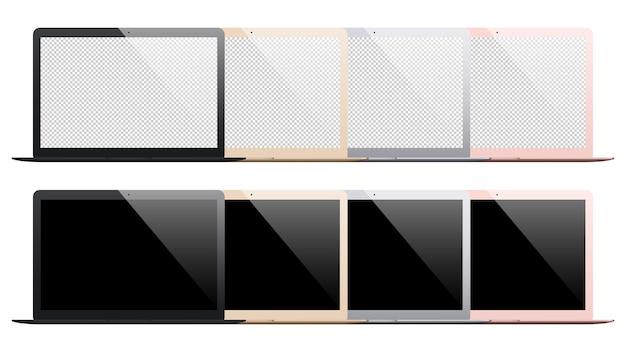 Zestaw laptopa na białym tle
