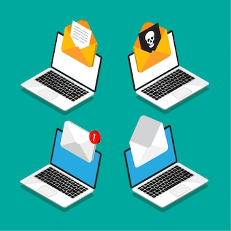 Zestaw laptopów z kopertą i dokumentem na ekranie w stylu izometrycznym. pobieranie lub wysyłanie nowego listu. poczta zawierająca wirusa. e-mail, marketing, koncepcje reklamy internetowej. ilustracja.