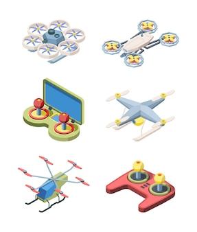Zestaw latających dronów. nowoczesne zrobotyzowane urządzenia do filmowania dostaw ładunków z panelem sterowania stylowy futurystyczny design quadrocopters bezprzewodowy transport baterii elektrycznych.