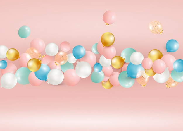 Zestaw latających kolorowych balonów. świętuj urodziny, plakat, baner, szczęśliwą rocznicę. realistyczne elementy dekoracyjne.