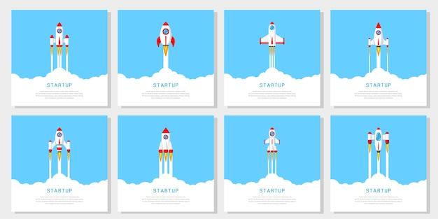 Zestaw latających rakiet, koncepcja banera uruchamiania firmy,