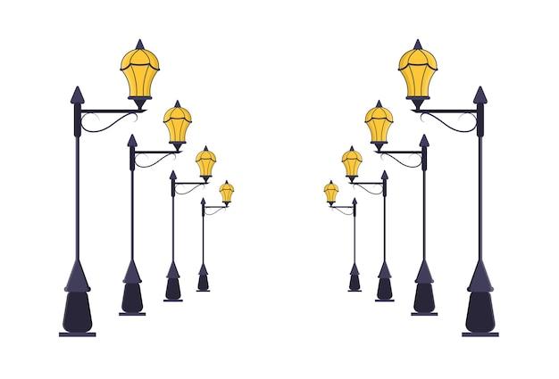 Zestaw latarni ulicznych. linie perspektywiczne dróg miejskich light pole. styl płaski.