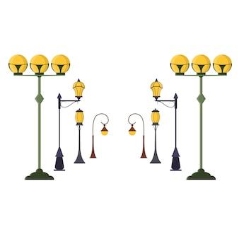 Zestaw latarni ulicznych. miejski słup światła w starym stylu vintage. styl płaski.