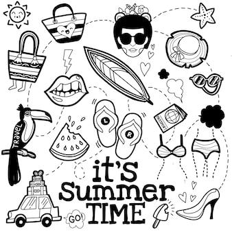 Zestaw lato doodle na białym tle