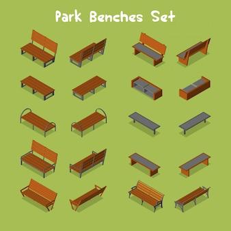 Zestaw ławek w parku
