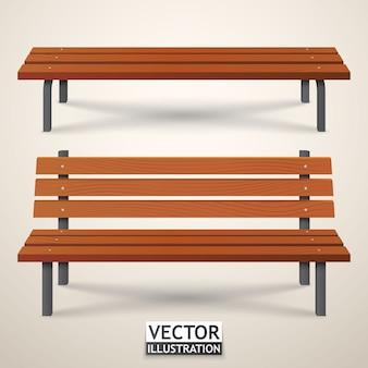 Zestaw ławki. parkowe drewniane ławki odizolowywać