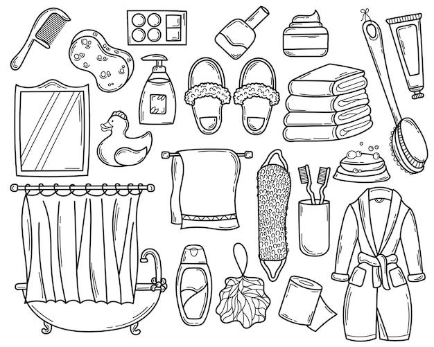 Zestaw łazienkowy doodle ręcznie rysowane elementy na prysznic w stylu szkicu.