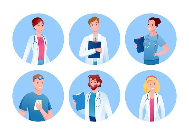 Zestaw lekarza i pielęgniarki. okrągłe awatary postaci medycznych personelu szpitala,