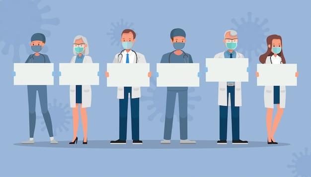 Zestaw lekarza nosić maski medyczne i przytrzymanie puste papieru. koncepcja postaci kwarantanny koronawirusa