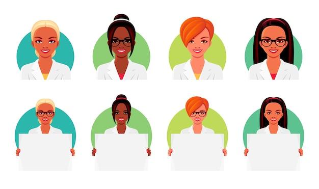 Zestaw lekarza ubrany w białe mundury medyczne i okulary