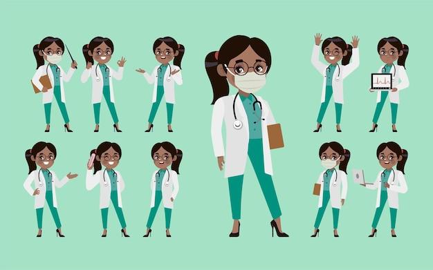 Zestaw lekarza z różnymi pozami.