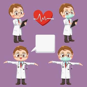 Zestaw lekarza ze stetoskopem i falą serca w postać z kreskówki, na białym tle płaska ilustracja