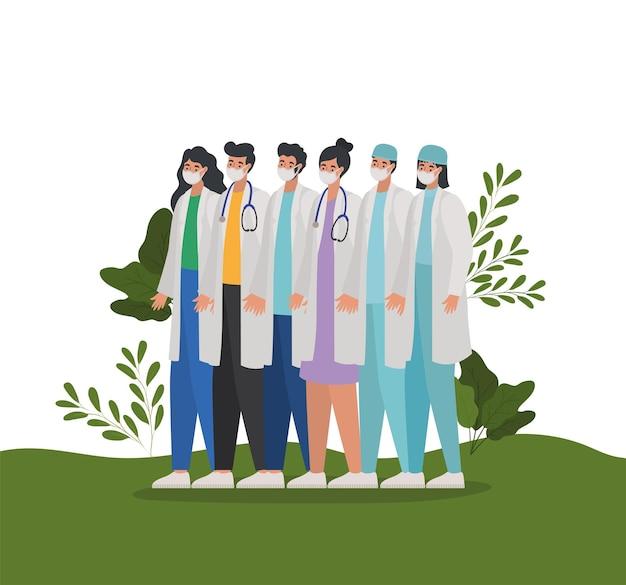 Zestaw lekarzy na łące