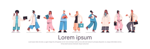 Zestaw lekarzy płci męskiej żeńskich w mundurze rasy mieszanej pracownicy medyczni kolekcja koncepcja medycyny opieki zdrowotnej na białym tle pozioma przestrzeń kopii