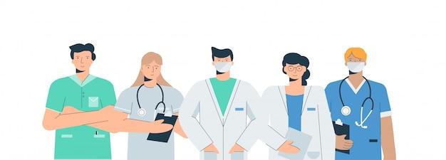 Zestaw lekarzy w mundurach medycznych. bojący się lekarze z chirurgiem przyjmującym koronawirusy anestezjolog-terapeuta.