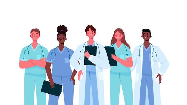 Zestaw lekarzy w płaskiej konstrukcji