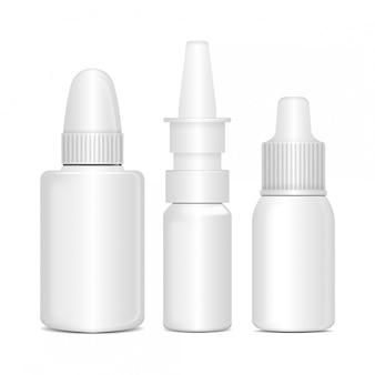 Zestaw leków antyseptycznych do nosa lub oczu w aerozolu. biała plastikowa butelka z pudełkiem. przeziębienie, alergie. realistyczny