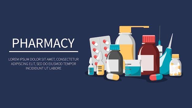 Zestaw leków. baner internetowy apteki. butelka z lekiem, pigułka, apteczka i plaster. farmacja i opieka zdrowotna. leczenie choroby tabletką. strzykawka do wstrzykiwań.